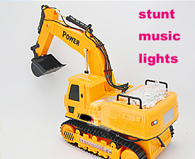 GPTOYS  8CH Wire control Stunt Crawler Excavator with flashing LED lights, with music