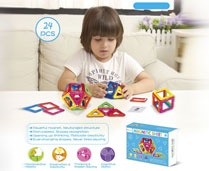 GPTOYS 24pcs DIY 3D Multicolour Magnetic Blocks Construction Building Kids Toy Puzzle
