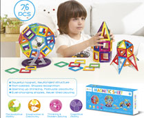GPTOYS 76pcs DIY 3D Multicolour Magnetic Blocks Construction Building Kids Toy Puzzle
